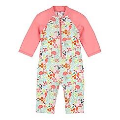 bluezoo - Girl's pink printed swim bodysuit