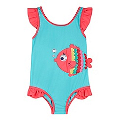 bluezoo - Girl's light turquoise fish swimsuit