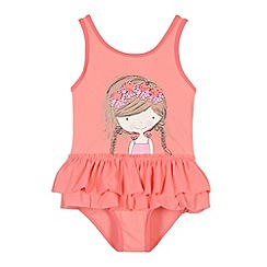 bluezoo - Girl's peach ballerina tutu swimsuit and hairband set