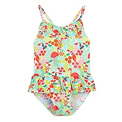 bluezoo - Girl's green tropical print swimsuit