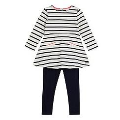 J by Jasper Conran - Designer girl's ivory Breton striped dress and leggings set