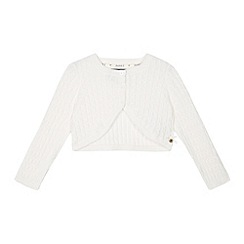 J by Jasper Conran - Designer girl's cream cropped cable knit cardigan