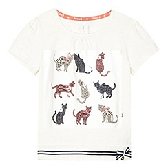 J by Jasper Conran - Designer girl's cream sequin cats t-shirt