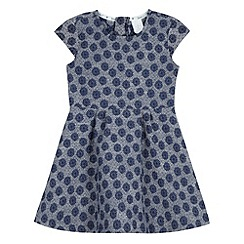 J by Jasper Conran - Designer girl's navy textured daisies skater dress