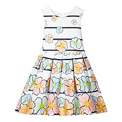 J by Jasper Conran - Designer girl's white floral and striped dress
