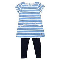 J by Jasper Conran - Designer girl's blue striped dress and leggings set