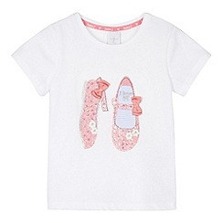 J by Jasper Conran - Designer girl's white glittery shoes t-shirt