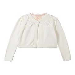 RJR.John Rocha - Designer girl's cream floral applique cardigan