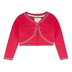 RJR.John Rocha - Designer girl's pink cropped metallic edge cardigan