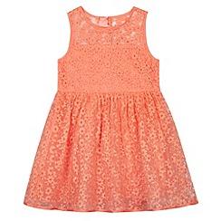 RJR.John Rocha - Designer girl's orange embroidered burnout floral prom dress