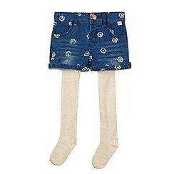 Mantaray - Girl's blue printed shorts and tights