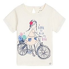 Mantaray - Girl's cream bike print lace top