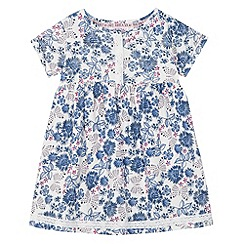 Mantaray - Girl's white and blue floral print dress