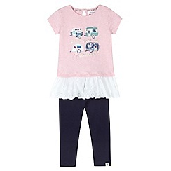 Mantaray - Girl's pink applique caravans t-shirt and leggings set