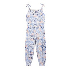 Mantaray - Girl's blue floral outline jumpsuit
