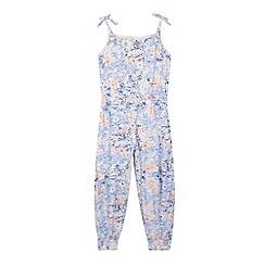 Mantaray - Girl's blue floral outline jumpsuit