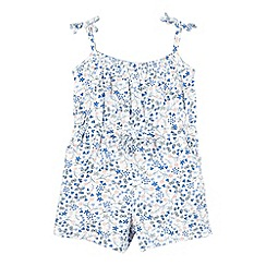 Mantaray - Girl's white ditsy print playsuit