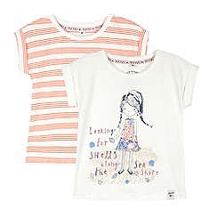 Mantaray - Pack of two girl's white striped and beach girl printed t-shirts