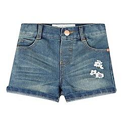 Mantaray - Girl's blue denim floral shorts