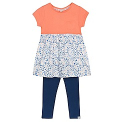 Mantaray - Girl's orange floral skirt dress and leggings set