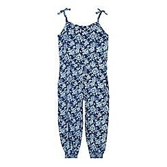 Mantaray - Girl's dark blue ditsy floral jumpsuit