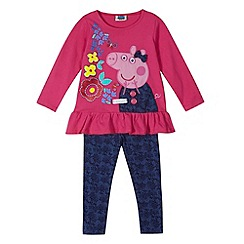 Peppa Pig - Girl's pink 'Peppa Pig' applique peplum top and leggings set