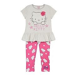 Hello Kitty - Girl's pink 'Hello Kitty' peplum top and leggings set