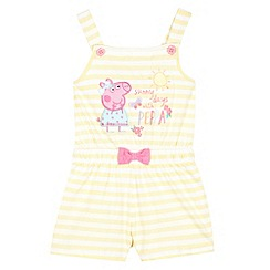 Peppa Pig - Girl's light yellow striped 'Peppa Pig' playsuit