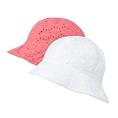 bluezoo - Pack of two girl's white broderie hats