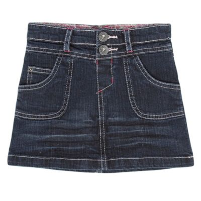 Girls Navy Buttoned Denim Skirt