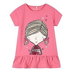 bluezoo - Girl's pink girl print t-shirt