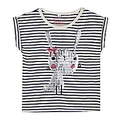 bluezoo - Girl's white striped sequin bunny t-shirt