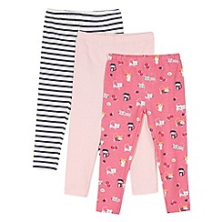 bluezoo - Pack of three girl's pink kitten striped leggings