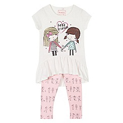 bluezoo - Girl's cream 'Best Friends' peplum top and leggings set