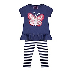 bluezoo - Girl's navy sequin butterfly top and leggings set