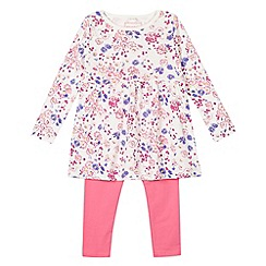bluezoo - Girl's pink floral top and leggings set