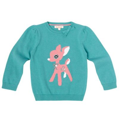 Girls Teal Deer Motif Jumper