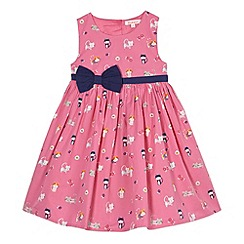 bluezoo - Girl's pink cat print woven dress