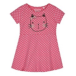 bluezoo - Girl's pink cat face t-shirt dress
