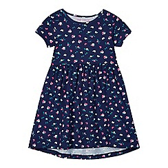 bluezoo - Girl's navy ditsy floral dress
