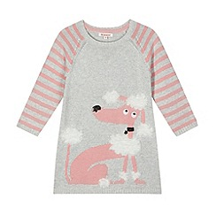 bluezoo - Girl's grey knitted poodle jumper