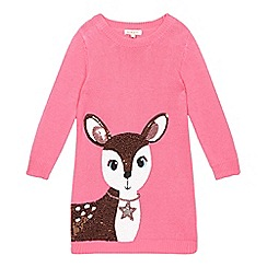 bluezoo - Girl's pink sequin deer knitted dress