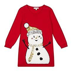 bluezoo - Girls' red snowman dress