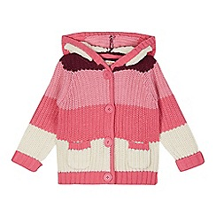 bluezoo - Girl's pink striped hooded cardigan