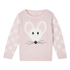 bluezoo - Girl's pink fluffy mouse jumper
