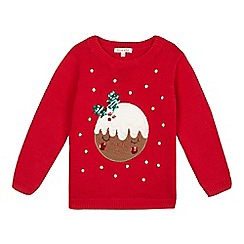 bluezoo - Girls' red Christmas pudding jumper