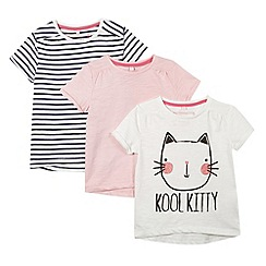 bluezoo - Pack of three girl's white, pink and navy 'Kool Kitty' print t-shirts