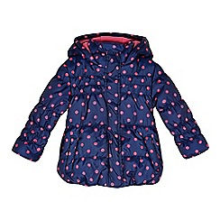 bluezoo - Girl's navy spotty padded coat