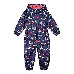 bluezoo - Girl's navy dog print puddle suit