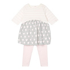 bluezoo - Girl's pink striped heart dress and leggings set
